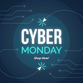 Modelo de banner promocional de design plano cyber segunda-feira