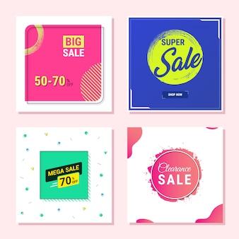 Modelo de banner promocional de venda abstrata