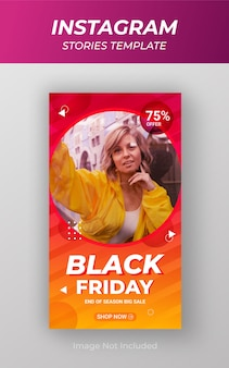 Modelo de banner promocional de venda de história do instagram de grande desconto de black friday