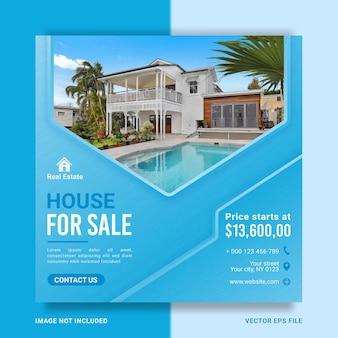 Modelo de banner publicitário de promoção de casa imobiliária para postagem em mídia social
