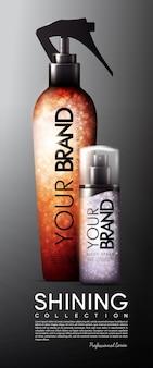 Modelo de banner publicitário em spray cosmético realista
