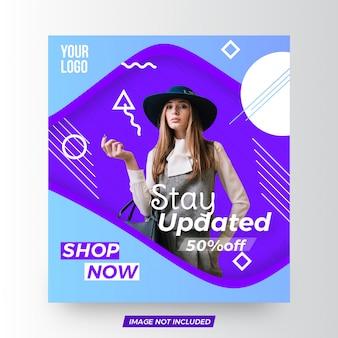 Modelo de banner quadrado de moda atraente venda
