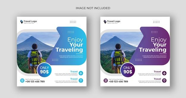 Modelo de banner quadrado de postagem de mídia social de viagens