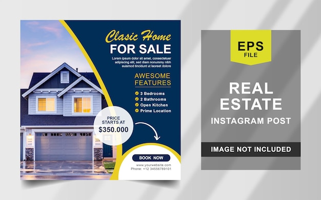 Modelo de banner quadrado de postagem no instagram da imobiliária