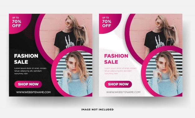 Modelo de banner quadrado do instagram, promoção de moda