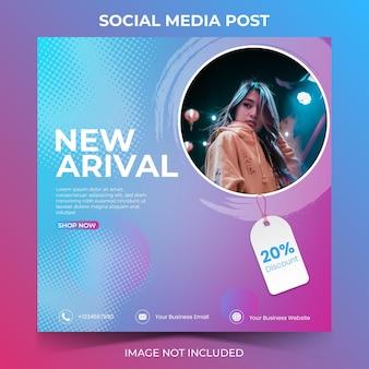 Modelo de banner quadrado mínimo editável com colagem de fotos adequado para postagem em mídias sociais