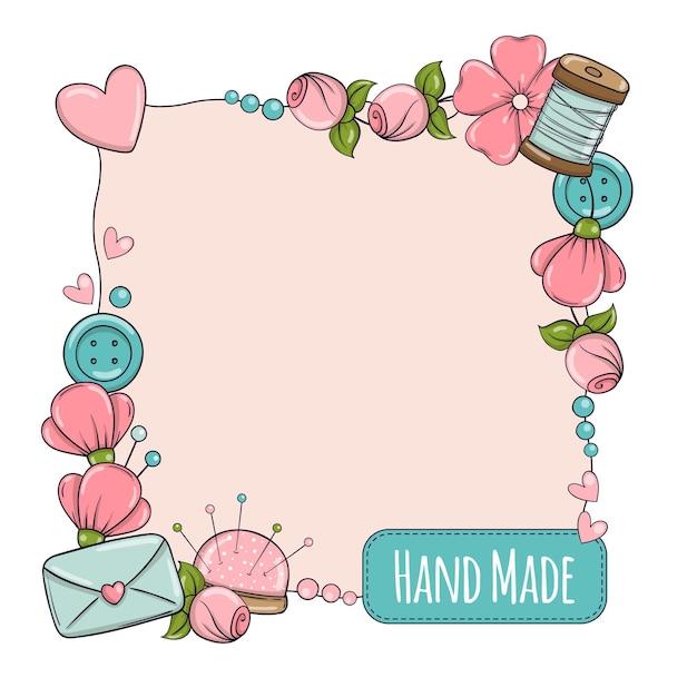 Modelo de banner quadrado para feito à mão, tricô, costura. quadro com atributos de costura e tricô em estilo doodle.