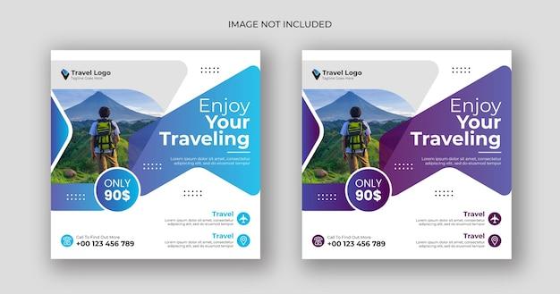 Modelo de banner quadrado para postagem de mídia social de viagens