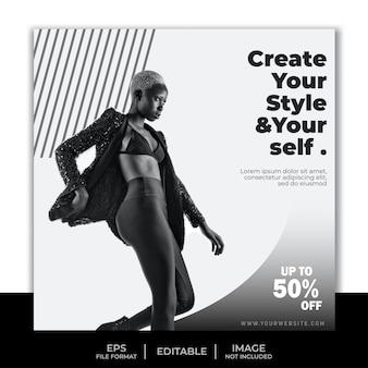 Modelo de banner quadrado para postagem no instagram, design simples em preto e branco