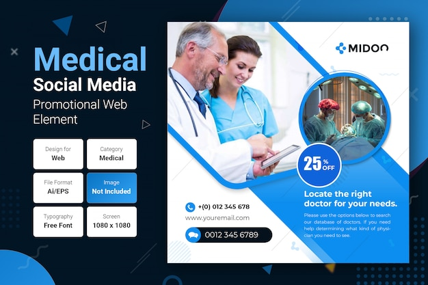Modelo de banner quadrado promocional de mídia social médica