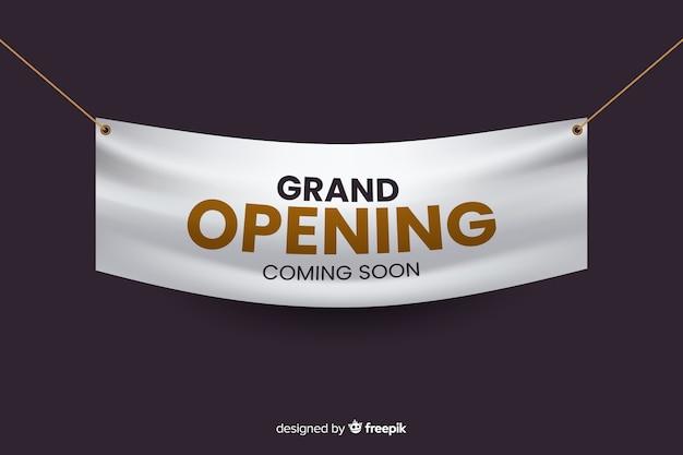 Modelo de banner realista de inauguração