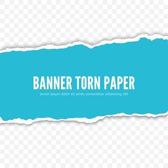 Modelo de banner realista de pedaço de papel rasgado