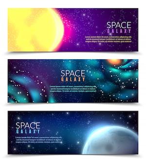 Modelo de banner realista galáxia
