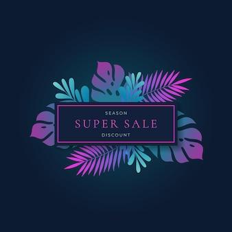 Modelo de banner retangular para venda de verão com gradiente fluorescente monstera tropic leaves