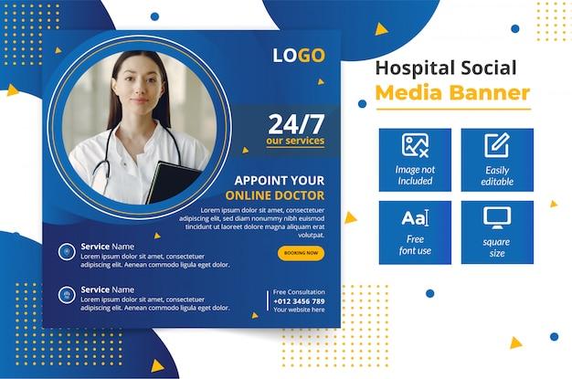 Modelo de banner social médico on-line