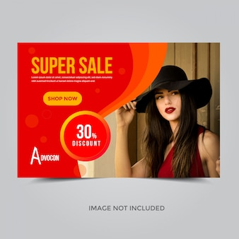 Modelo de banner super venda, cupom de desconto de 30%