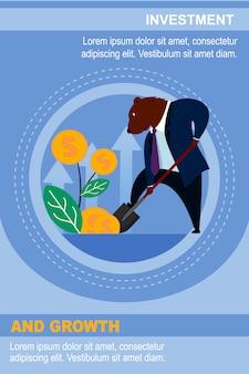Modelo de banner trader bear invest dólar e espera crescimento