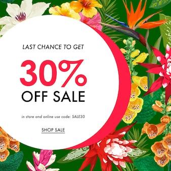 Modelo de banner tropical de venda de verão. promoção sazonal com flores e folhas exóticas.