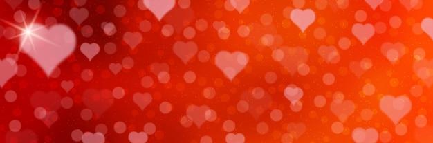 Modelo de banner turva vermelho do dia dos namorados. fundo desfocado vermelho com corações e efeitos de luz