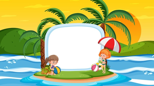 Modelo de banner vazio com crianças de férias na cena do pôr do sol na praia
