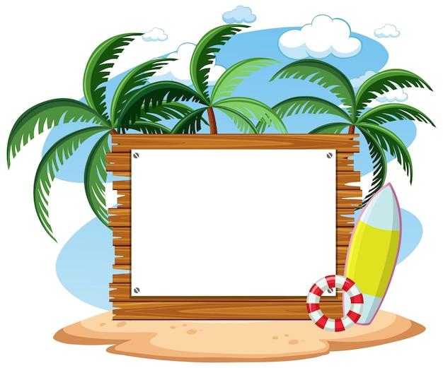 Modelo de banner vazio com elemento de praia de verão isolado