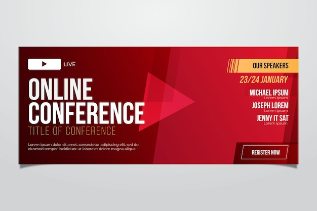 Modelo de banner vermelho de webinar