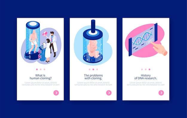 Modelo de banner vertical de clonagem humana sobre engenharia genética