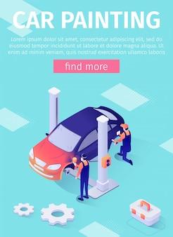 Modelo de banner vertical para serviço de pintura de carros on-line