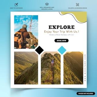 Modelo de banner web de postagens de instagram de exploradores de viagens