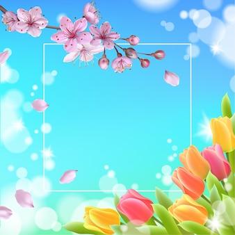 Modelo de banner web de primavera 3d realista. cor tulipa flores grama azul céu azul fundo panfleto promocional quadrado cartaz social ilustração vetorial.
