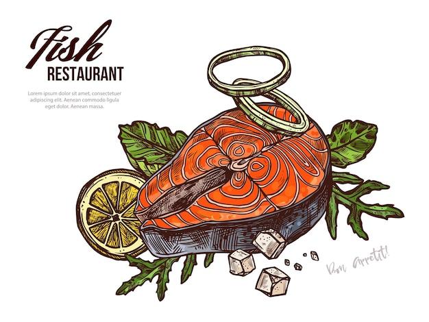 Modelo de banner web desenhado à mão de bife de salmão