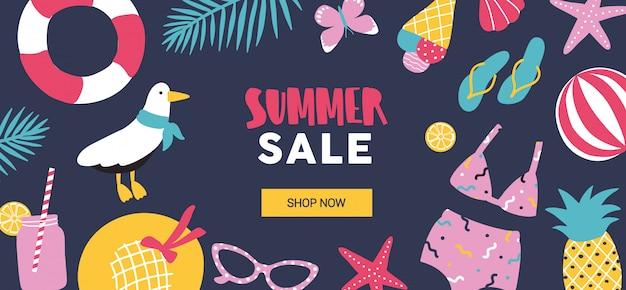 Modelo de banner web horizontal decorado com atributos de férias tropicais de verão em fundo preto.