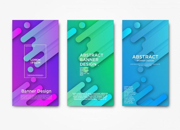 Modelo de banner web horizontal moderno abstrato com gradiente