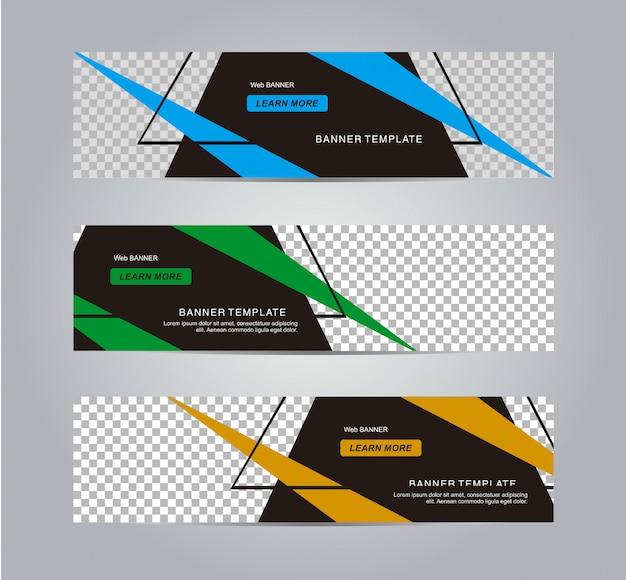 Modelo de banner web moderna e abstrata geométrica.