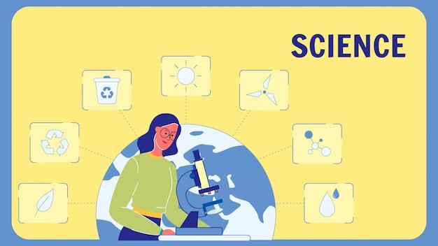 Modelo de banner web vector plana de ciência com texto