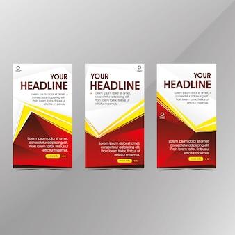 Modelo de banner web vermelho moderno, banners de desconto promoção venda
