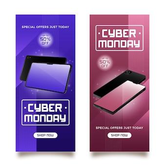 Modelo de banners cibernéticos realistas