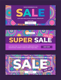 Modelo de banners coloridos de venda