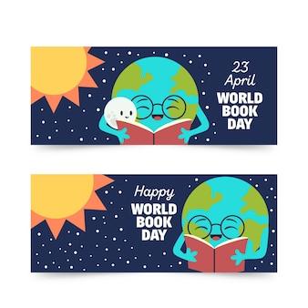 Modelo de banners com design de dia mundial do livro