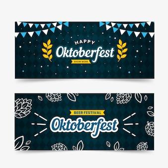 Modelo de banners da oktoberfest de design plano
