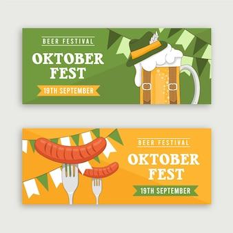 Modelo de banners da oktoberfest desenhado à mão