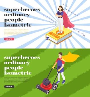Modelo de banners da web de super-heróis de pessoas comuns com professor de ciências e jardineiro vestindo capa