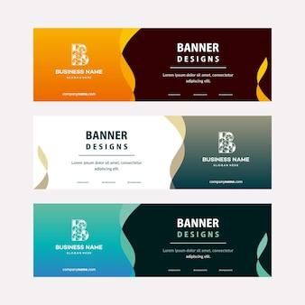 Modelo de banners da web moderno com elementos diagonais para uma foto. design universal para empresas de publicidade