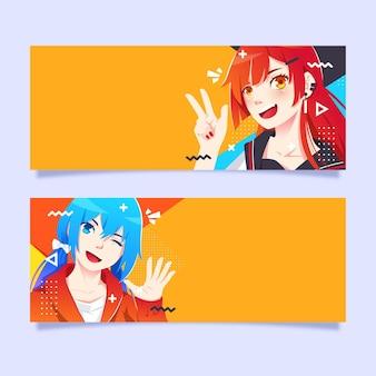 Modelo de banners de anime detalhados