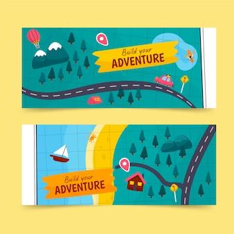 Modelo de banners de aventura desenhado à mão