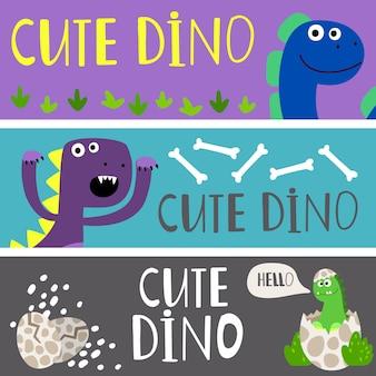Modelo de banners de crianças com conjunto de dinos bonito dos desenhos animados