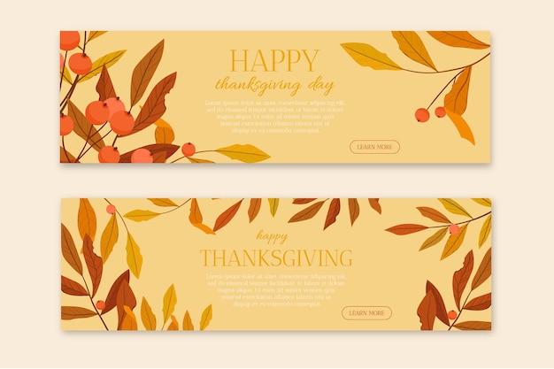 Modelo de banners de design plano feliz dia de ação de graças.