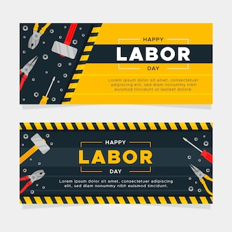 Modelo de banners de dia do trabalho de design plano