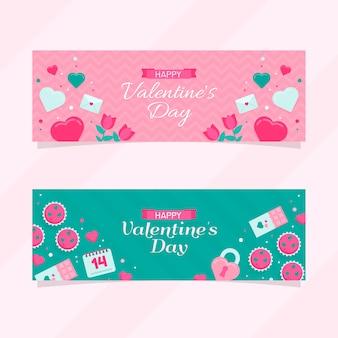 Modelo de banners de dia dos namorados design plano