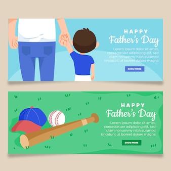 Modelo de banners de dia dos pais de design plano